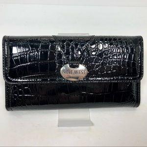 Nine West Black Alligator Trifold Wallet